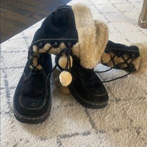 Fur suede boots